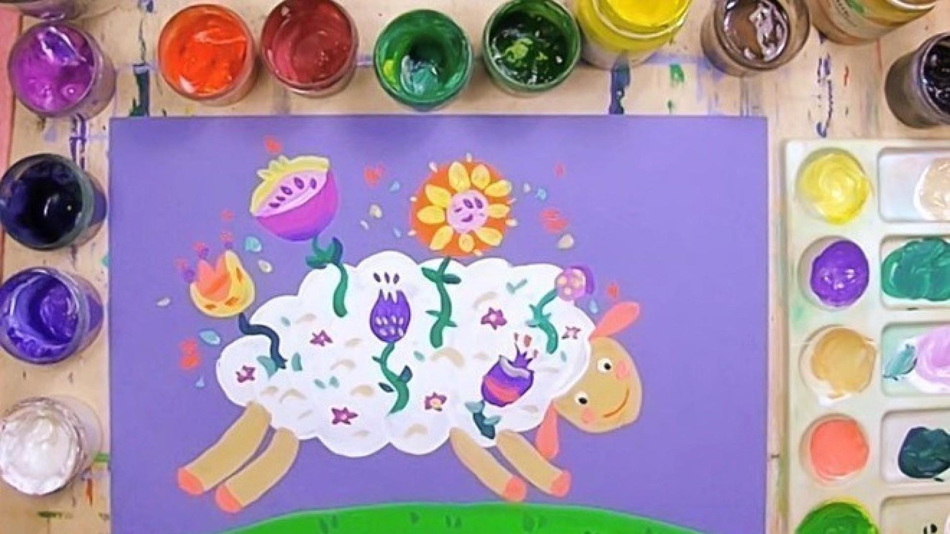 Видео-урок для детей: рисуем овечку с цветами
